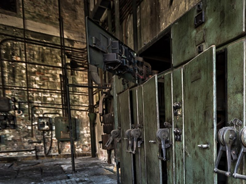 electrical control cabinet is an old abandoned factory